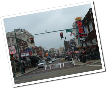 Looking down Beale St