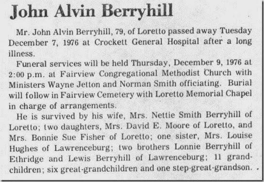 Berryhill John Alvin Obit