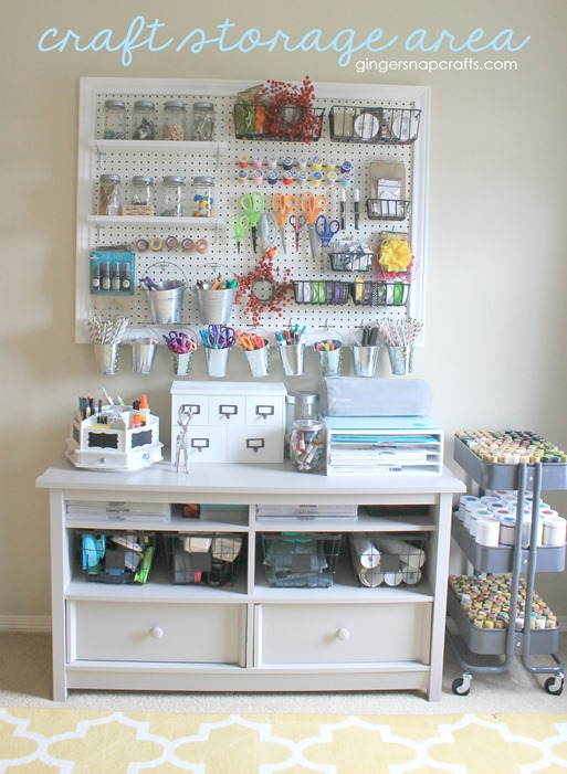 craft storage area at GingerSnapCrafts.com