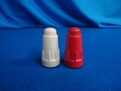 "2-1/2"" tall red and white salt and pepper shakers"