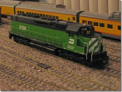 IMG_0455 Burlington Northern SDP40 #6398 My Layout on April 5, 2008