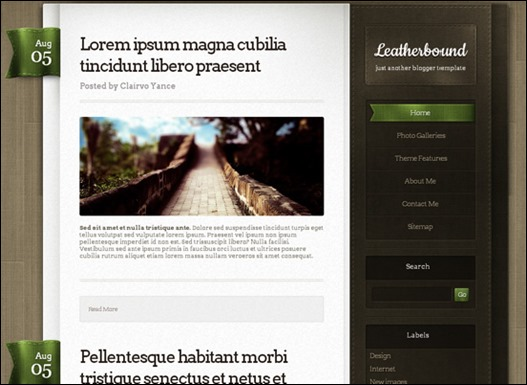 Leatherbound blogger template