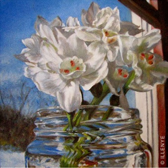 5x5 paperwhite narcissus windowsill final painting