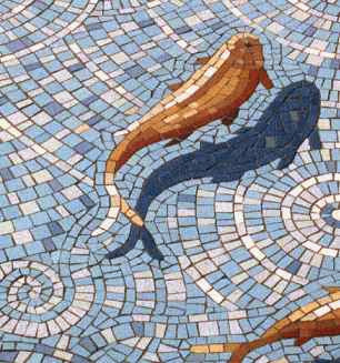 Jacques pienaar arts and mosaics mosaic 39 d koi fish pond for Mosaic designs garden