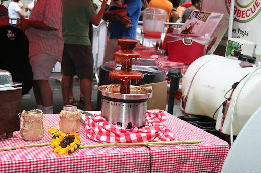 Mike Mills brought back his legendary BBQ sauce fountain. Coming soon to a wedding reception near you?