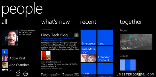 Windows Phone 8 People Hub Panorama