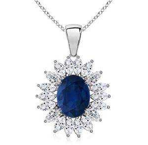 Oval Sapphire and Diamond Floral Border Pendant