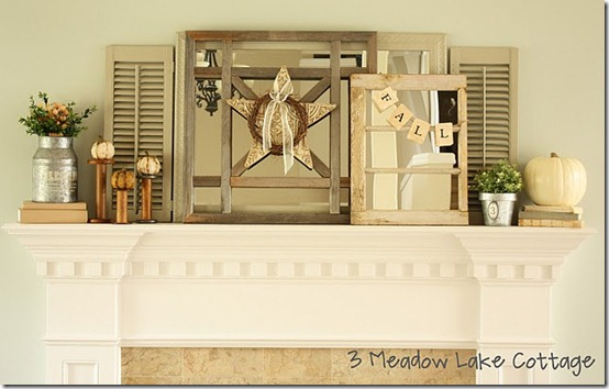 friday feature--fall mantel from 3 meadow lake cottage blog