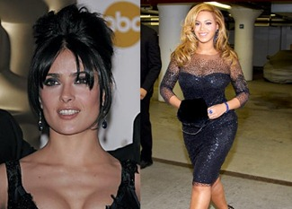 Salma Hayek & Beyonce Knowles Both Celebrity Wear Sapphire Earrings
