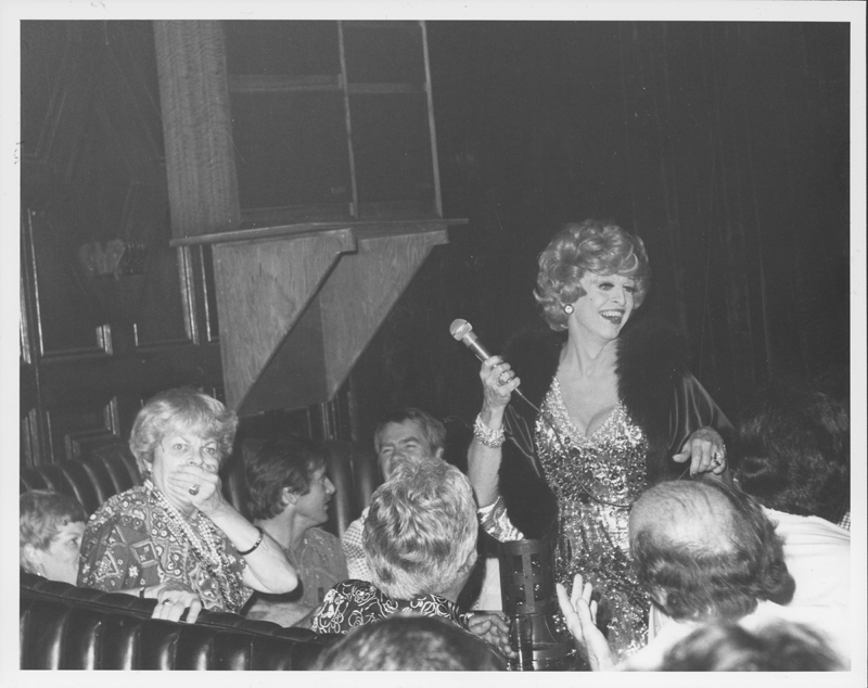 Charles Pierce performs as Martha Raye at the Cabaret, scandalizing the real Martha Raye. 1975.