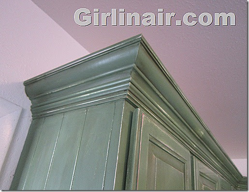 Girl in air blog updating kitchen cabinets with crown molding for Kitchen cabinets 45 degree angle