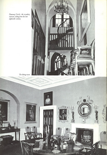 At Dunsany Castle, these images of the staircase and dining room show a successful collaboration of gothic styles throughout different eras.