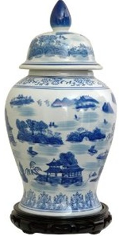 Blue and white Chinese porcelain temple jar