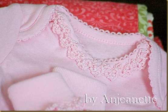 10 crochet trim on onesie