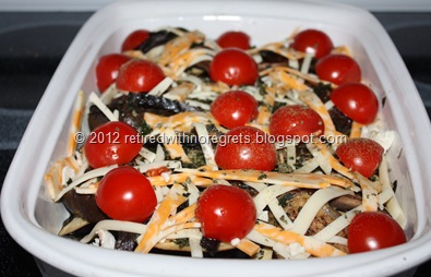 Crustless Eggplant Portabella Deep Dish Pizza - oven ready