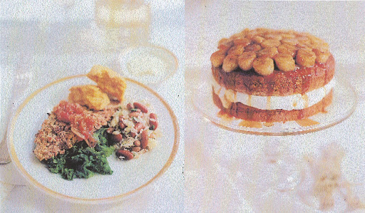 Left:  A representation of enlightened Southern cooking with pecan-crusted catfish, mustard greens, a bean and rice salad and sweet-potato biscuits.