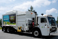 Surrey's pilot CNG refuse collection truck, a Cummins Westport ISL G-powered low-entry Mack with 26-yard McNeilus side loader body, as pictured in Energy Vision report. Contractor BFI Canada is to buy several dozen new CNG trucks to enter service in Surrey in October 2012.
