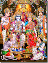 Rama with wife, brothers and Hanuman