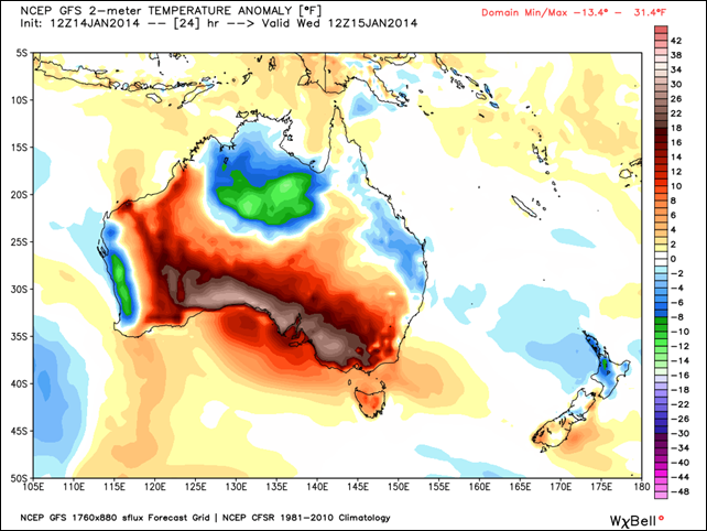 Australia temperature difference from normal, as simulated by the GFS model for Wednesday, 15 January 2014. Graphic: WeatherBell.com