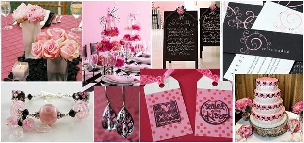 rosa e preto decoração casamento