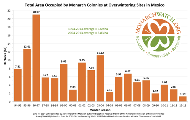 Total Area Occupied by Monarch Colonies at Overwintering Sites in Mexico, 1994-2013. Graphic: MonarchWatch.org