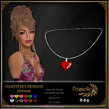 DANIELLE Valentine's Pendant Platinum copy