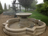 "5' Urn-style Pedestal Fountain.  34"" Diameter Pedestal x 60"" Diameter Basin 44"" Total Height.  Giallo Fantasia R Granite Honed Finish."
