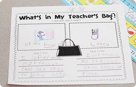 Whats in My Teachers Bag Making Inferences The Inspired Apple – Inference Worksheets High School