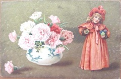 vintage foreign post card with carnations and girl