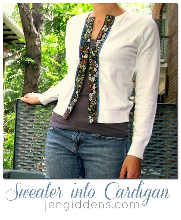 Sweater into Cardigan Tutorial by Jen Giddens