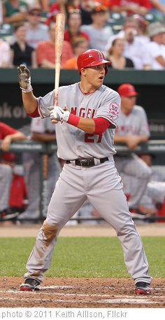 'Los Angeles Angels center fielder Mike Trout (27)' photo (c) 2011, Keith Allison - license: http://creativecommons.org/licenses/by-sa/2.0/