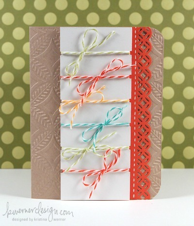 bakers twine bow card by kristina werner design