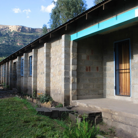 Then it's time for school. She goes to Morija School which is just below the hillside.