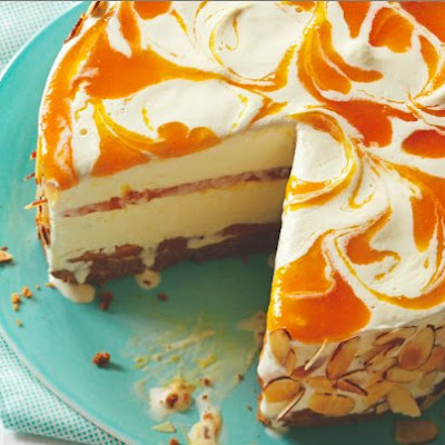 Apricot Almond Swirl Ice Cream Pie
