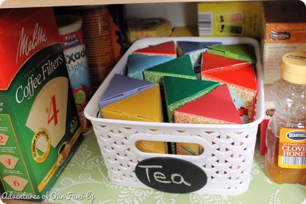 kitchen organization tea shelf close up