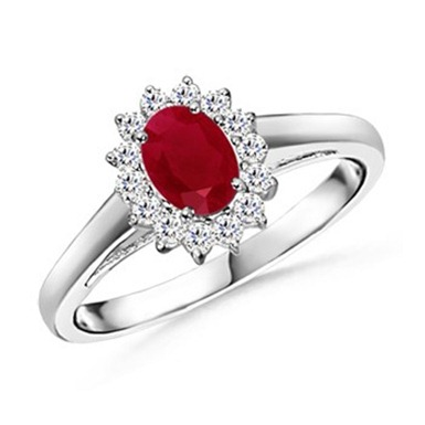 Oval Ruby and Round Diamond Vintage Ring