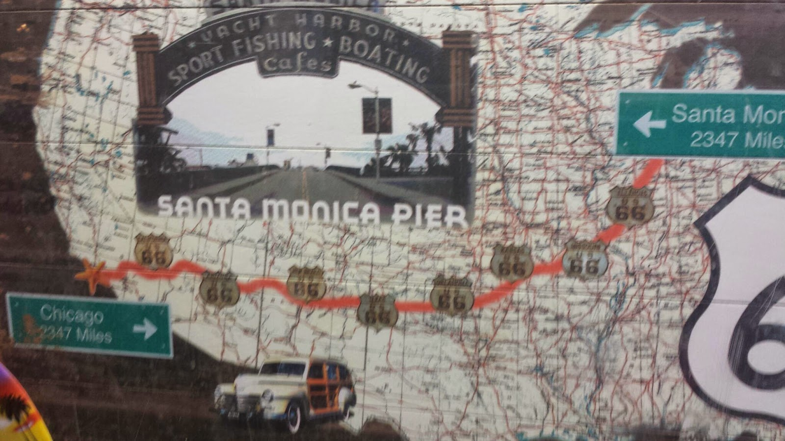 Historic US ROUTE  Map And Original Santa Monica Pier Sign As - Chicago map route 66