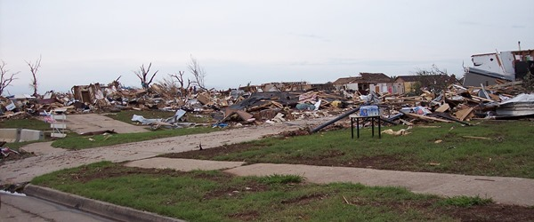 Homes leveled by tornado