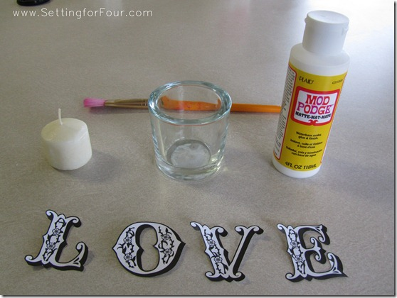 Pottery Barn Knockoff DIY Love Votives from Setting for Four #modpodge #PotteryBarn.  See the tutorial here: http://settingforfour.blogspot.com/2012/01/love-votive-candle-set.html  #votive #candle #knockoff #diy #tutorial #love
