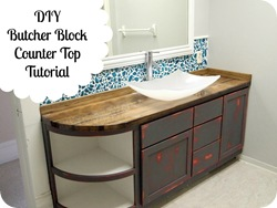 Butcher Block Counter Tutorial (with Mason Jar Backsplash!!) www.sawdustandembryos.com - Copy