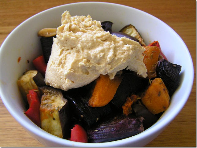 roasted veges with hummus