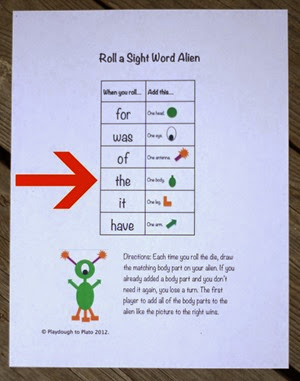 Roll a Sight Word Alien