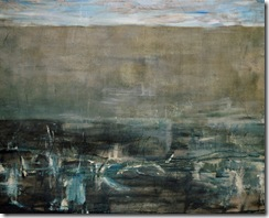 John Luna - Winter Composition - Oil. beeswax. charcoal. chalk. graphite and crayon on canvas - 38 x 37 inches = 2003-04