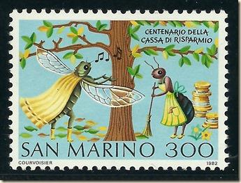 San_Marino_1982_La_cigarra_y_la_hormiga