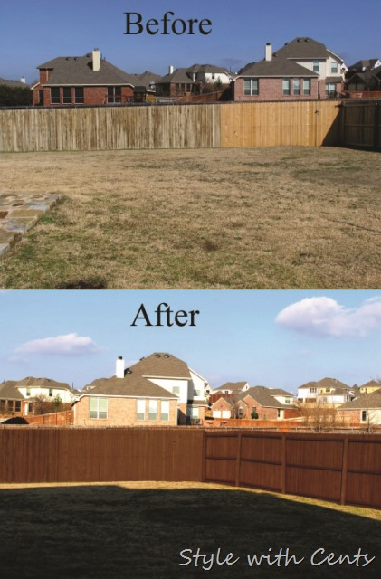 How to stain an old worn out fence for dirt cheap using 'Oops' paint from Home Depot.
