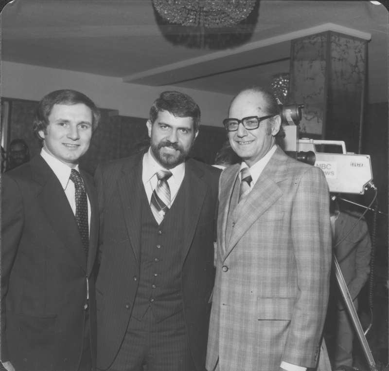 American Civil Liberties Union (ACLU) Southern California gay rights chapter awards banquet at the Hollywood Palladium honoring Reverend Troy Perry. Photograph includes Troy Perry (center) and Herschel Rosenthal (right). April 29, 1978.