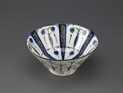 Bowl | Origin:  Iran | Period: early 13th century  Saljuq period | Details:  Not Available | Type: Stone-paste decorated under transparent glaze | Size: H: 10.2  W: 21.5   D: 21.5  cm | Museum Code: F1965.28 | Photograph and description taken from Freer and the Sackler (Smithsonian) Museums.