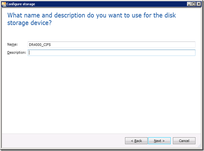 What name and description do you want to use for the disk storage device