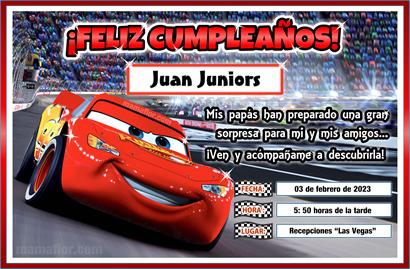 Tarjeta de Cumpleaños de CARS para imprimir // Invitaciones de ...