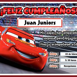 Tarjeta de Cumpleaños de CARS para imprimir // Invitaciones de Fiesta Infantil